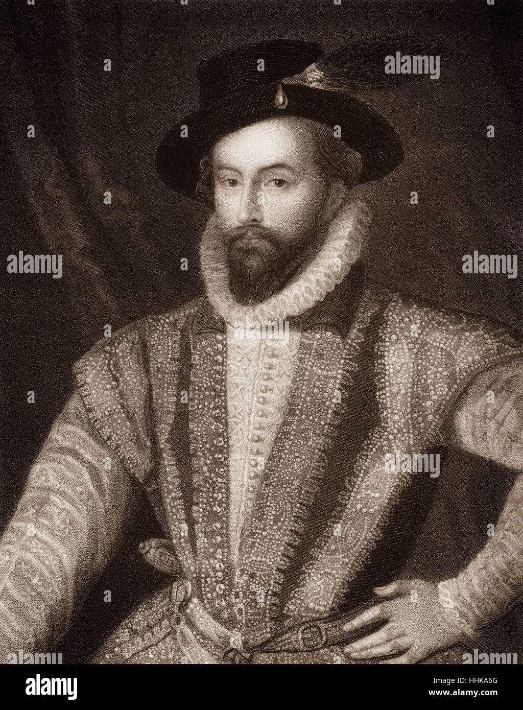 Sir Walter Raleigh, 1554 - 1618, un aristócrata inglés, escritor, poeta y explorer Foto de stock