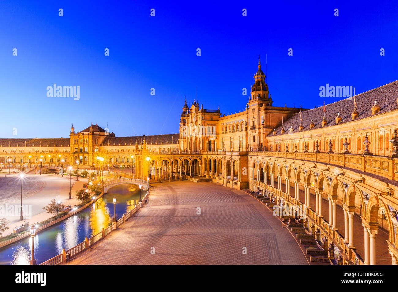Sevilla, España. La Plaza de España. Foto de stock