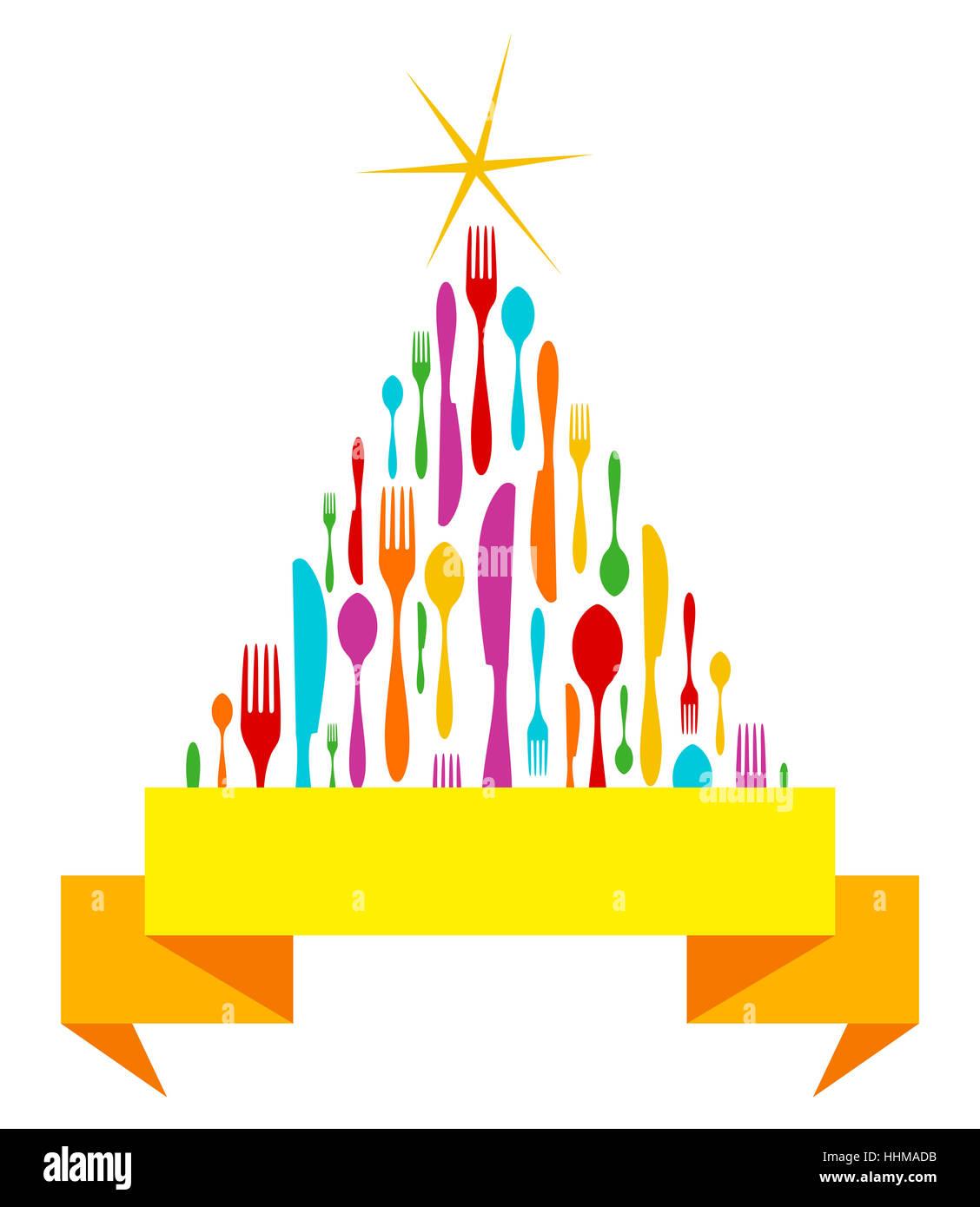 Cubertería aislado del árbol de Navidad Plantilla de tarjeta de ...
