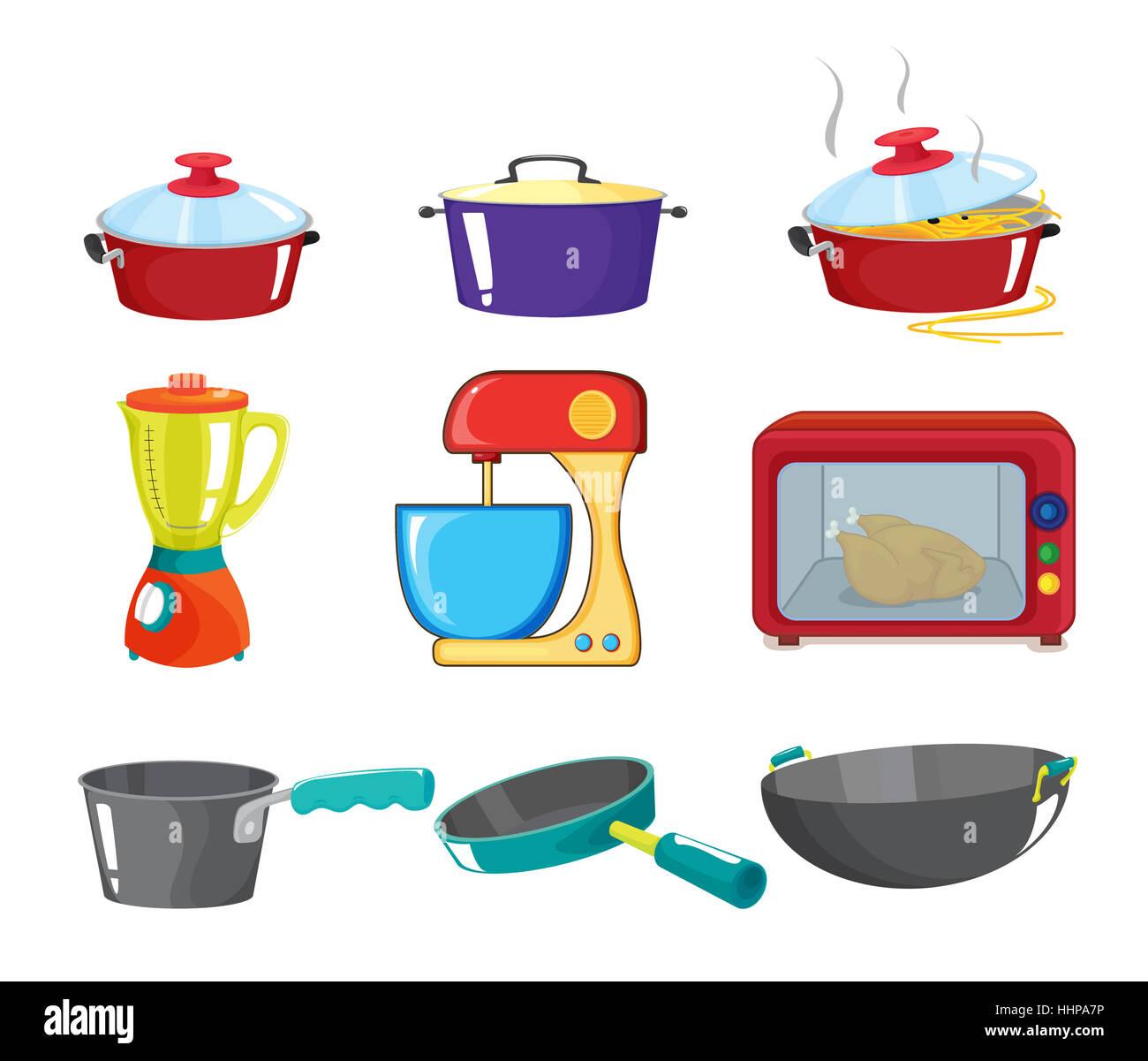 Comic dibujos animados ilustraciones objetos aislados for Objetos de cocina