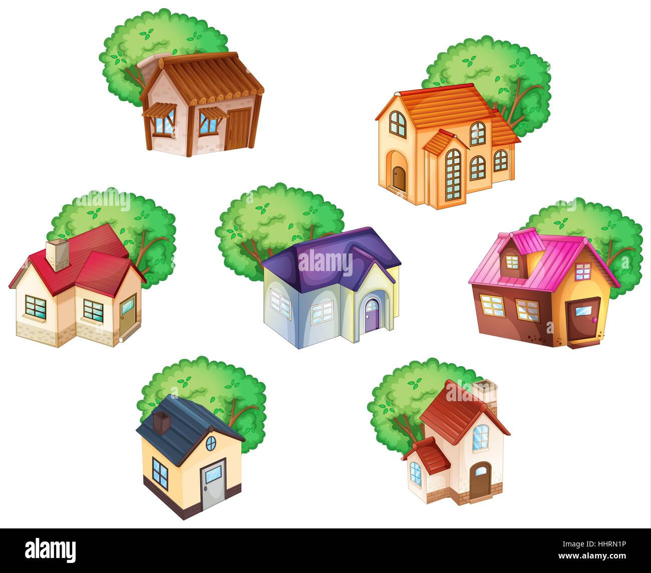 Comic Dibujos Animados Ilustraciones Azul Casa Edificio Casas