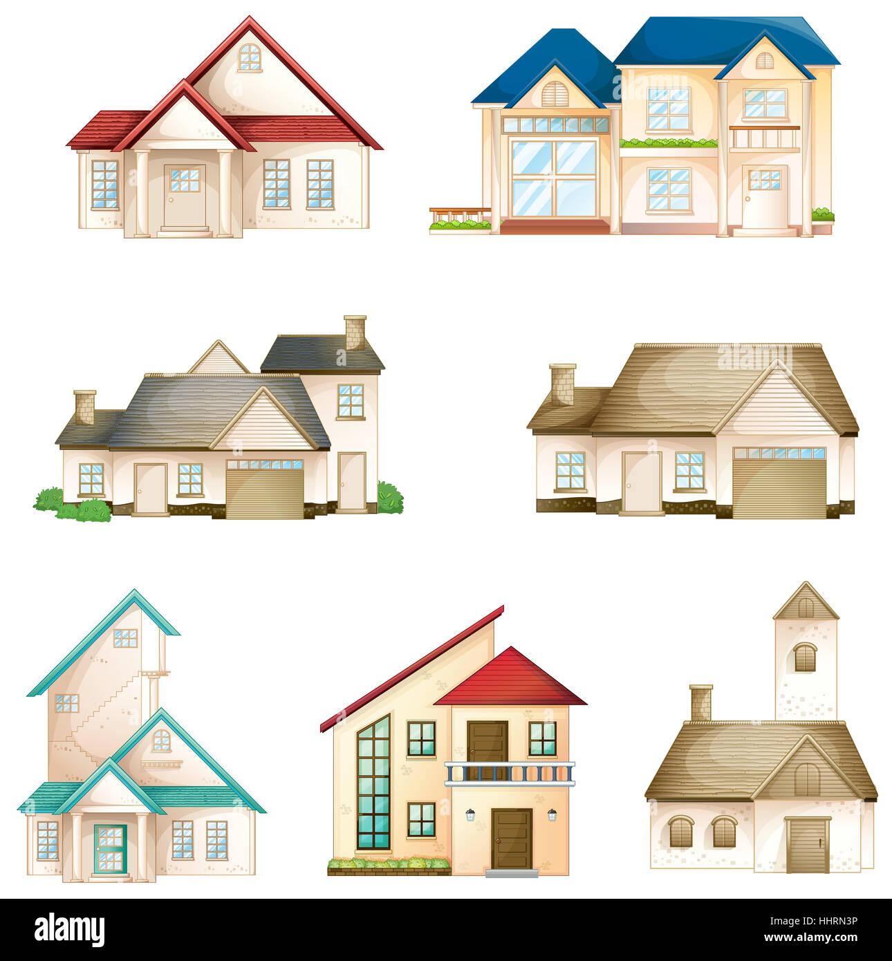 Comic Dibujos Animados Ilustraciones Casa Edificio Objetos