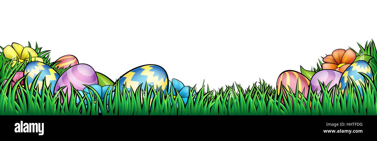 Un huevo de Pascua hunt borde de fondo marco o gráfico de pie de ...