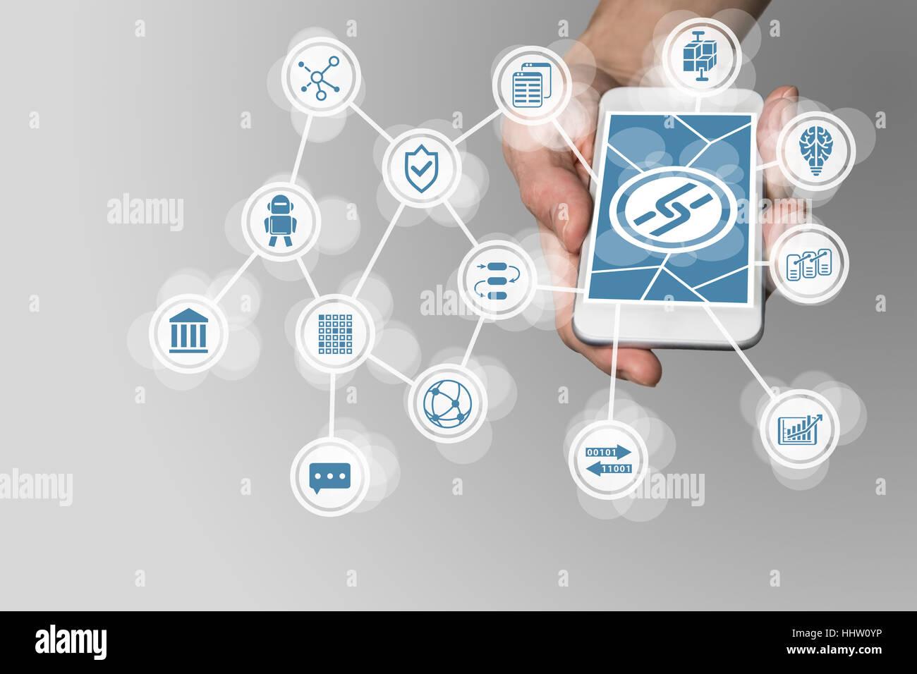 Concepto Blockchain con mano sujetando el teléfono inteligente moderno como ejemplo para fin tecnología Foto de stock