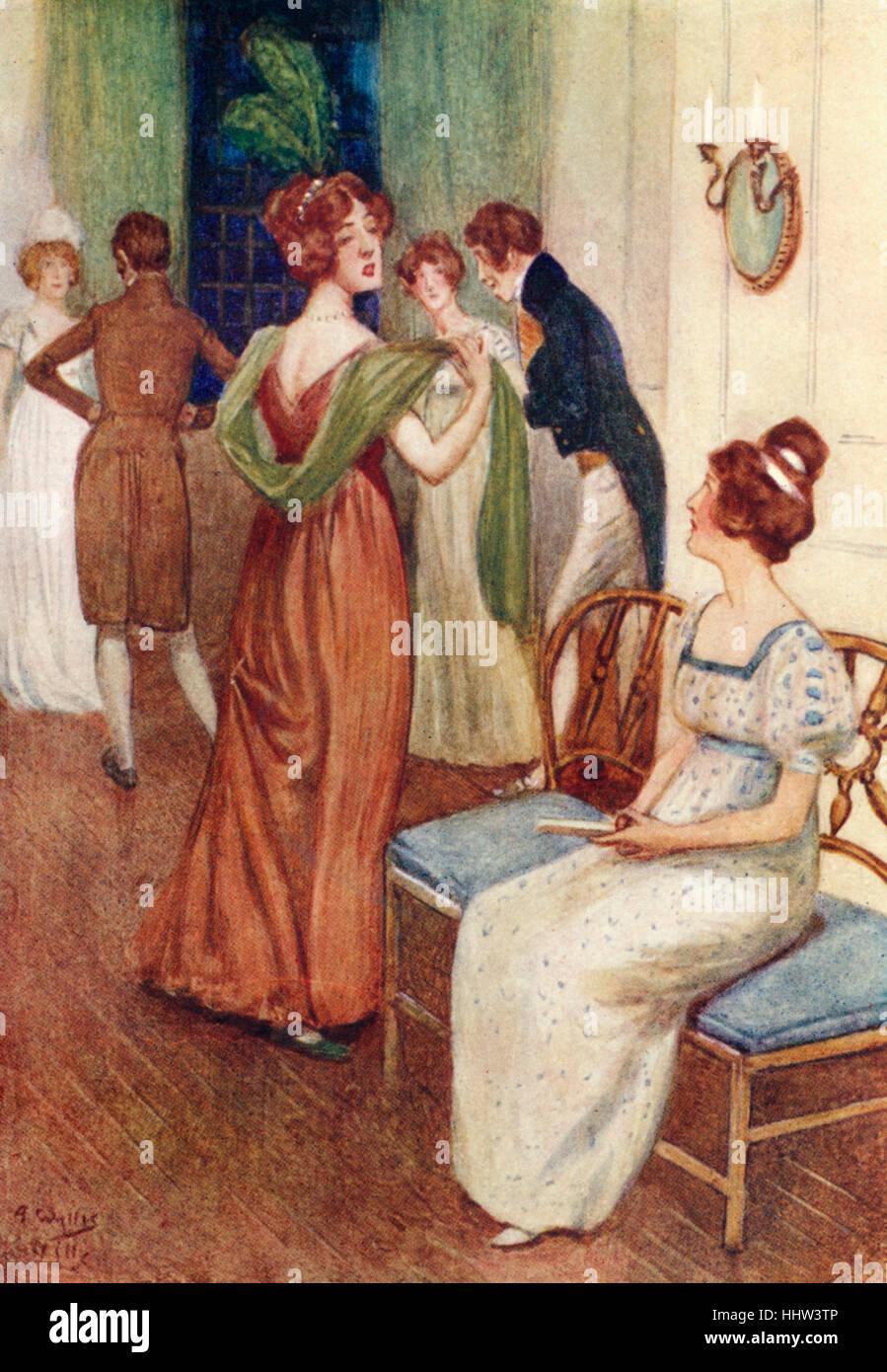 """""""Orgullo y prejuicio"""" de Jane Austen - retrato de Miss Bingley & Elizabeth en Netherfield bola. Capítulo Imagen De Stock"""