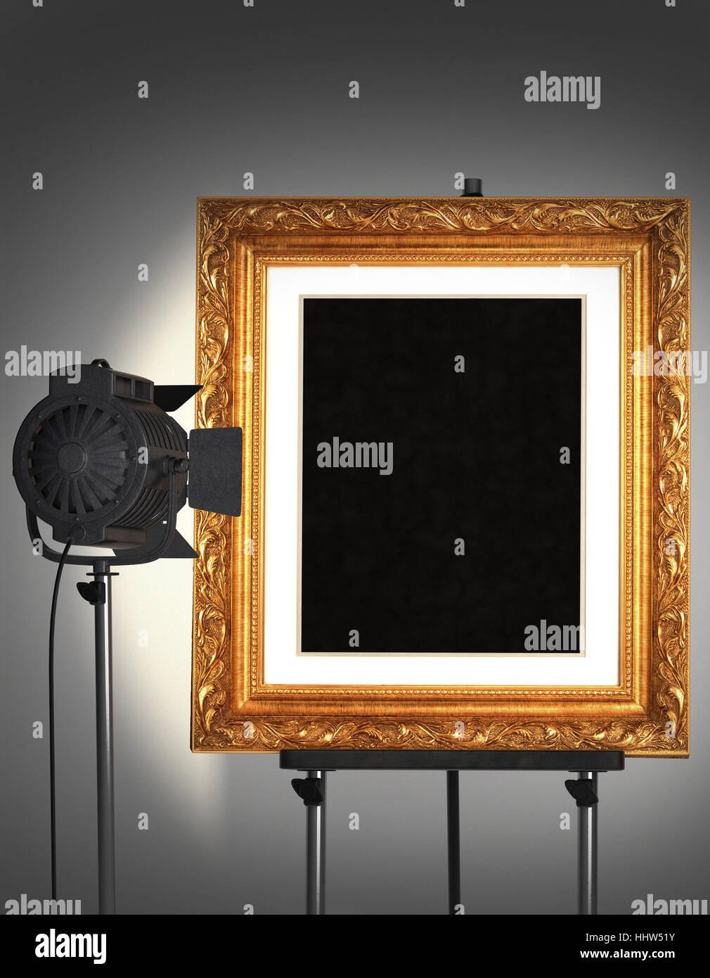 Arte, Museo, vacía, caballete, galería, bastidor, oro, marco ...