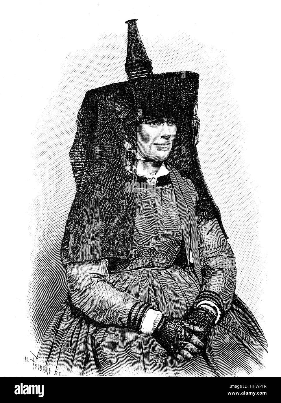 Folclore francés, el vestuario de la mujer campesina de Bresse, imagen histórica o ilustración, publicado Imagen De Stock