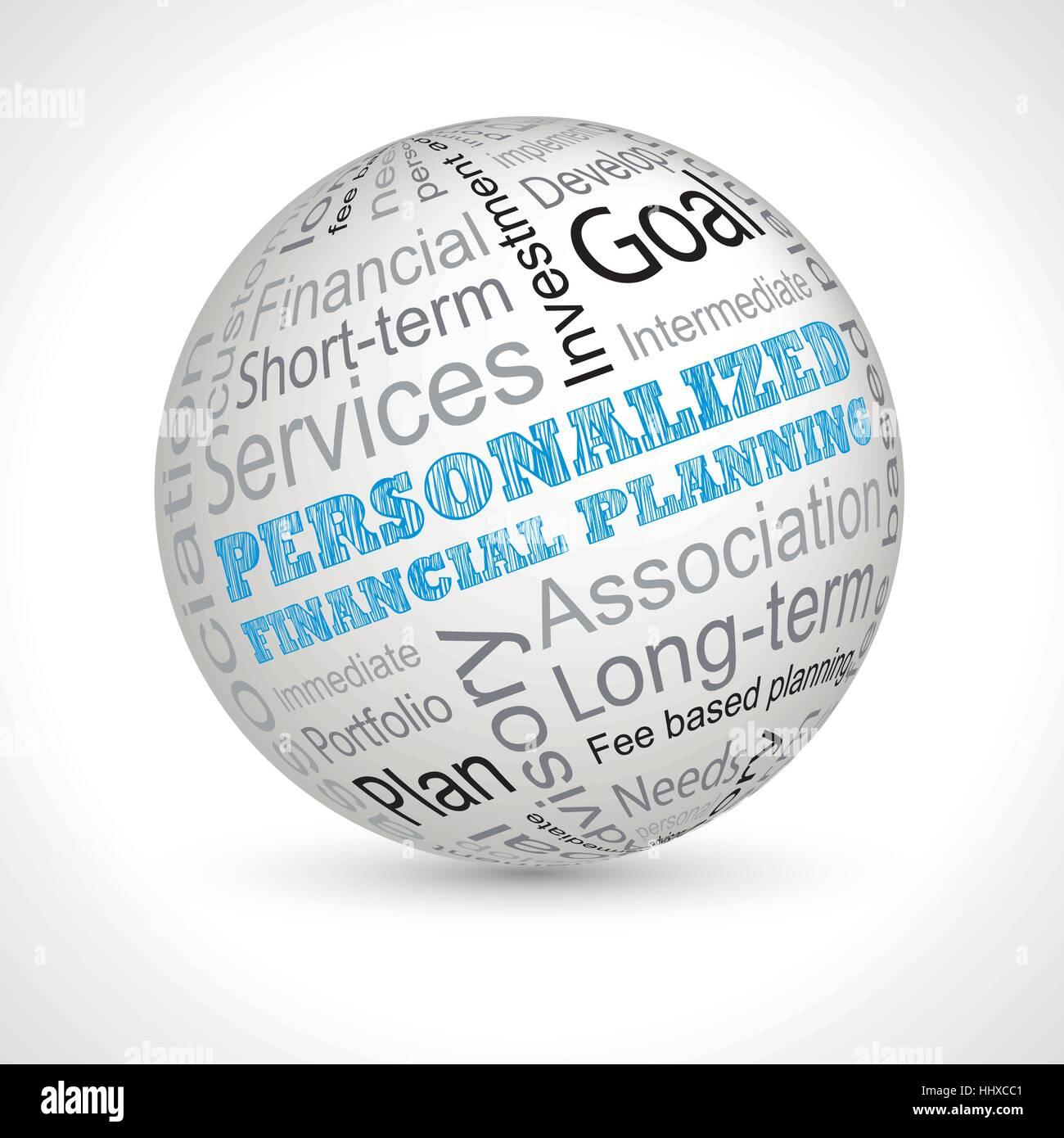 Planificación financiera personalizada ámbito temático de vectores con palabras clave Imagen De Stock
