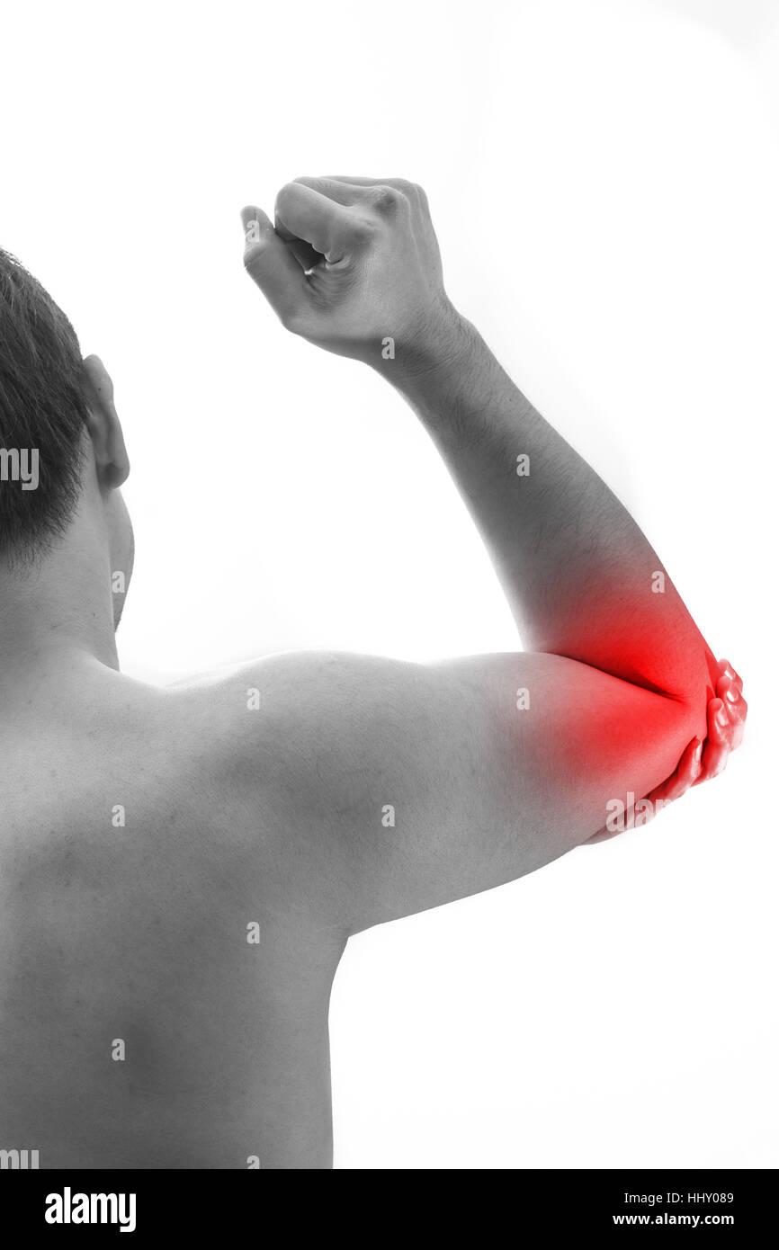 Hombre el dolor de codo. Celebración macho codo a codo mancha de dolor. Imagen De Stock