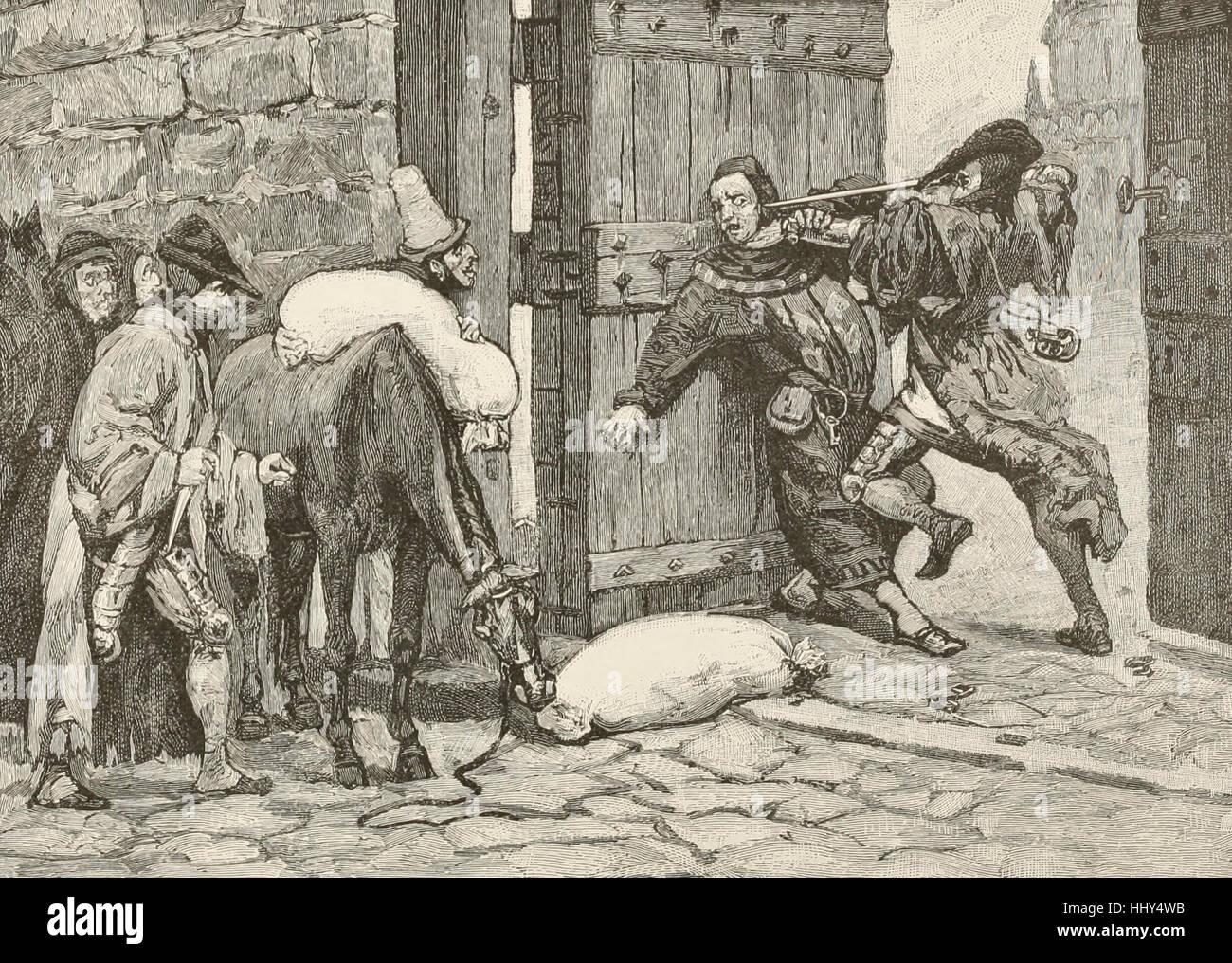 Cómo Sir William Douglas y sus compañeros capturaron el Castillo de Edimburgo por estratagema Imagen De Stock