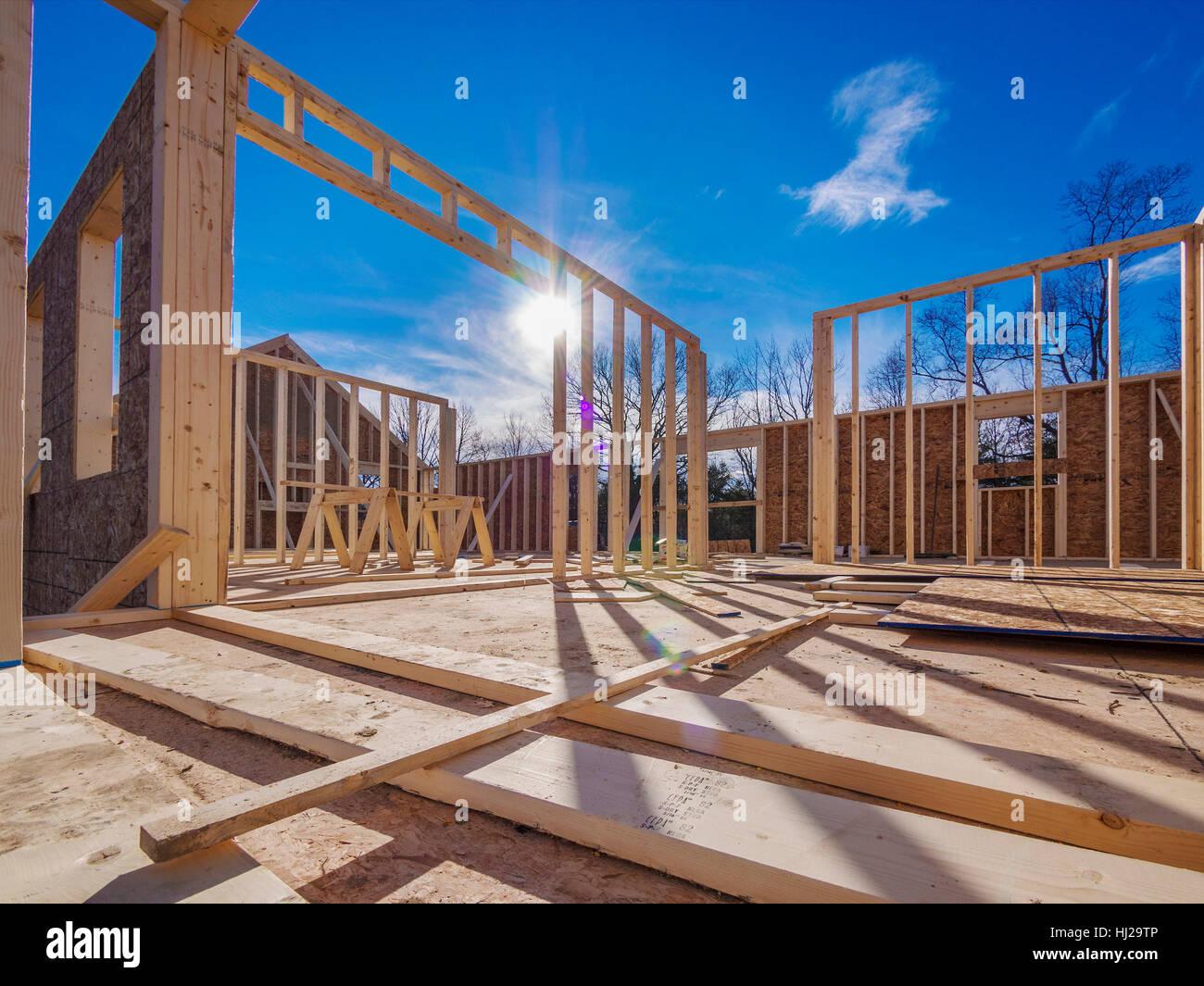 Casa, edificio, construcción, industria, madera, trabajo, fábrica ...