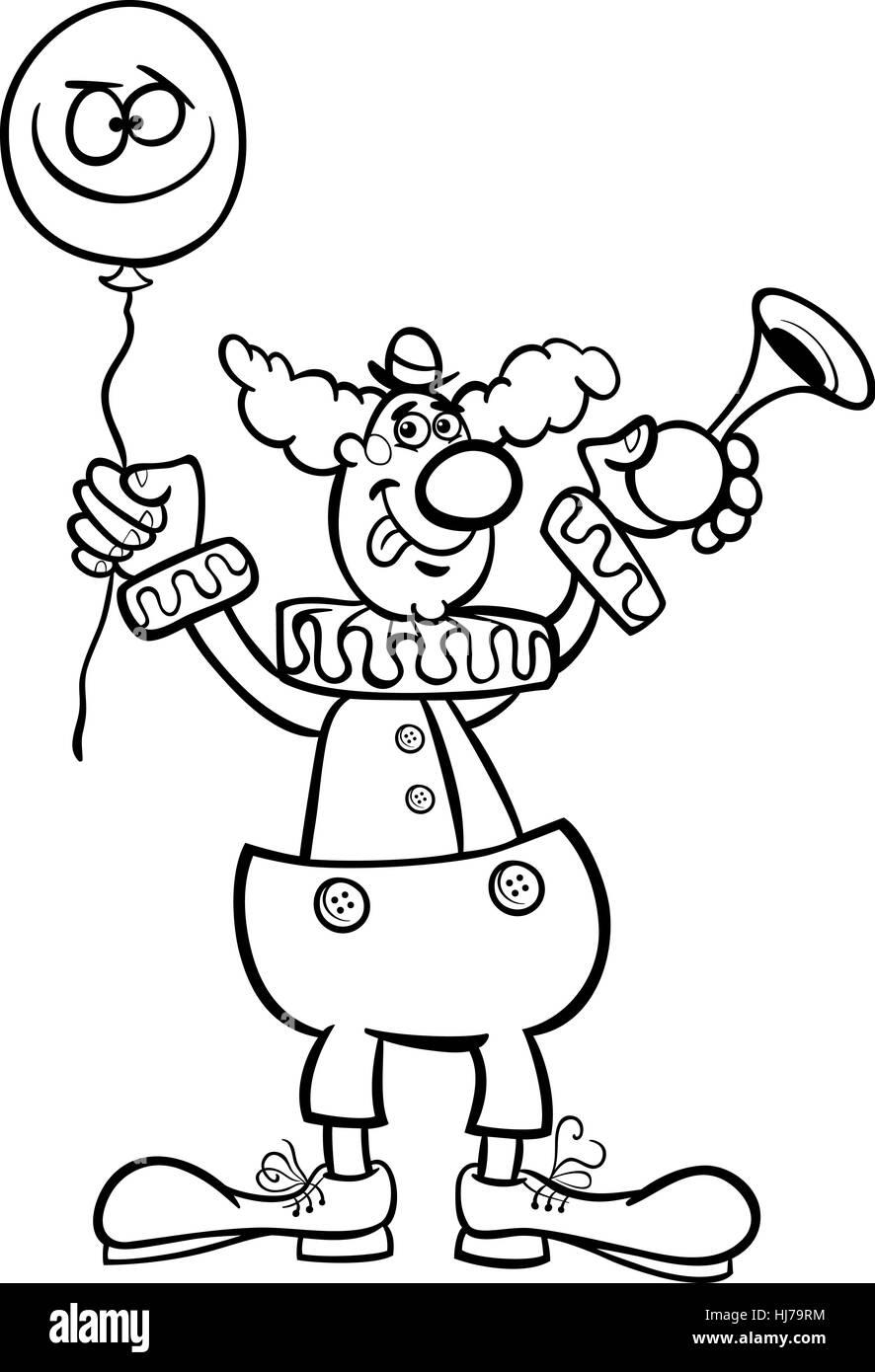 Ilustración caricatura en blanco y negro de gracioso payaso con ...