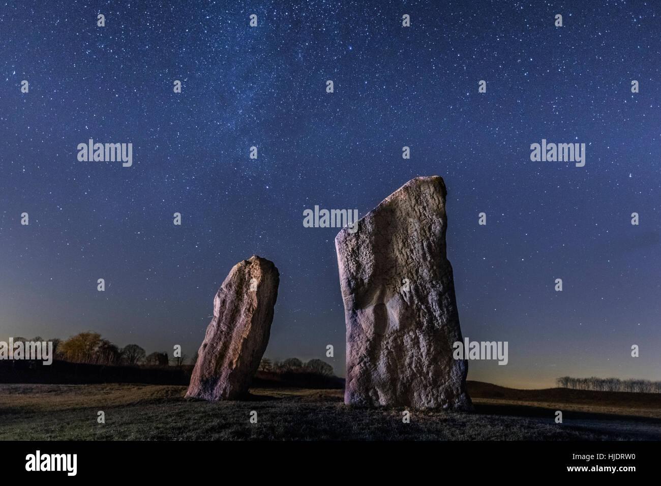 Anillos de Avebury, estrella de la fotografía, Wiltshire, Inglaterra, Reino Unido. Imagen De Stock