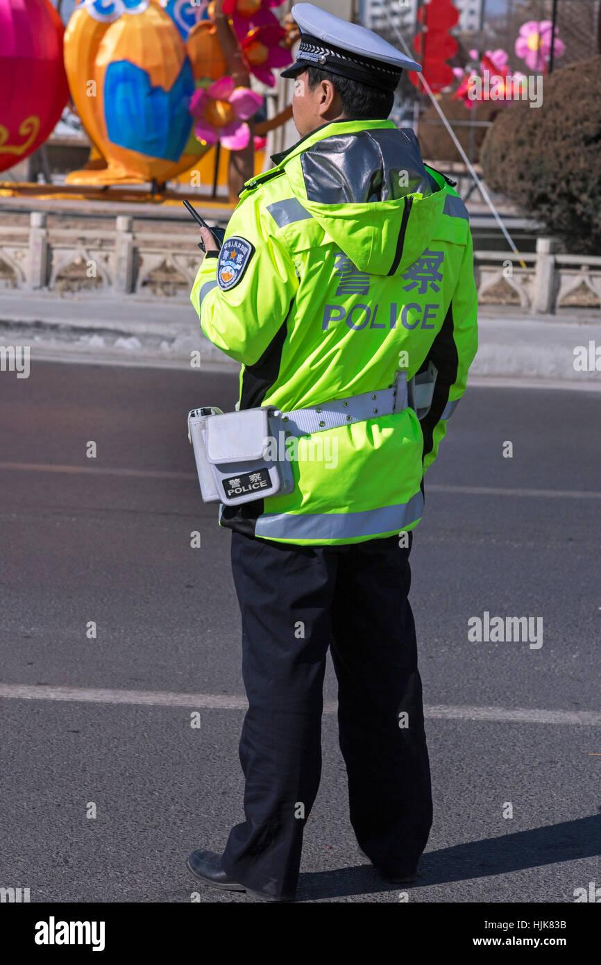 El policía de tráfico, Yinchuan, provincia de Ningxia, China Imagen De Stock