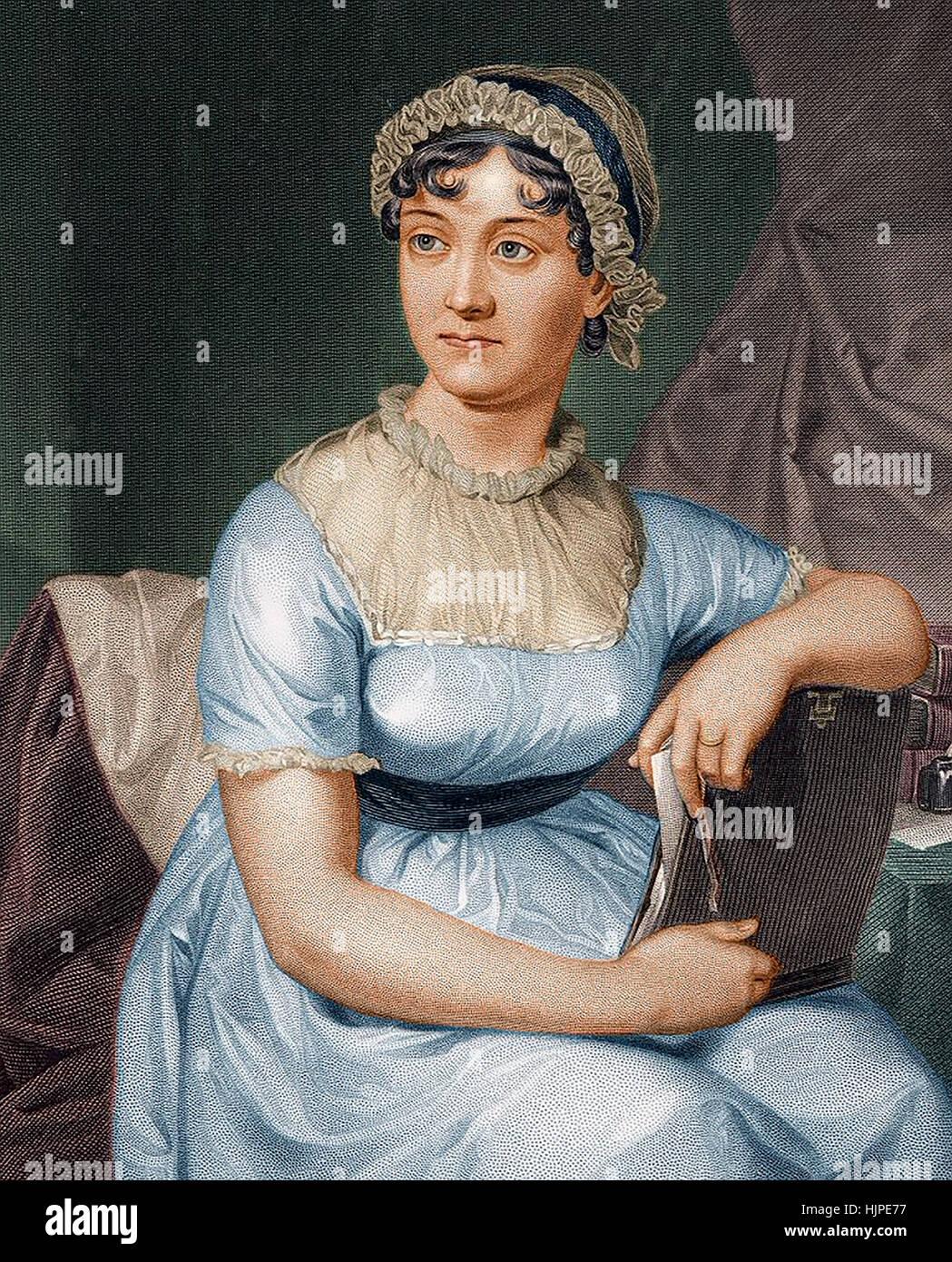 JANE AUSTEN (1775-1817), novelista inglés un colourised litografía desde 1873 basa el grabado en su sobrino Imagen De Stock