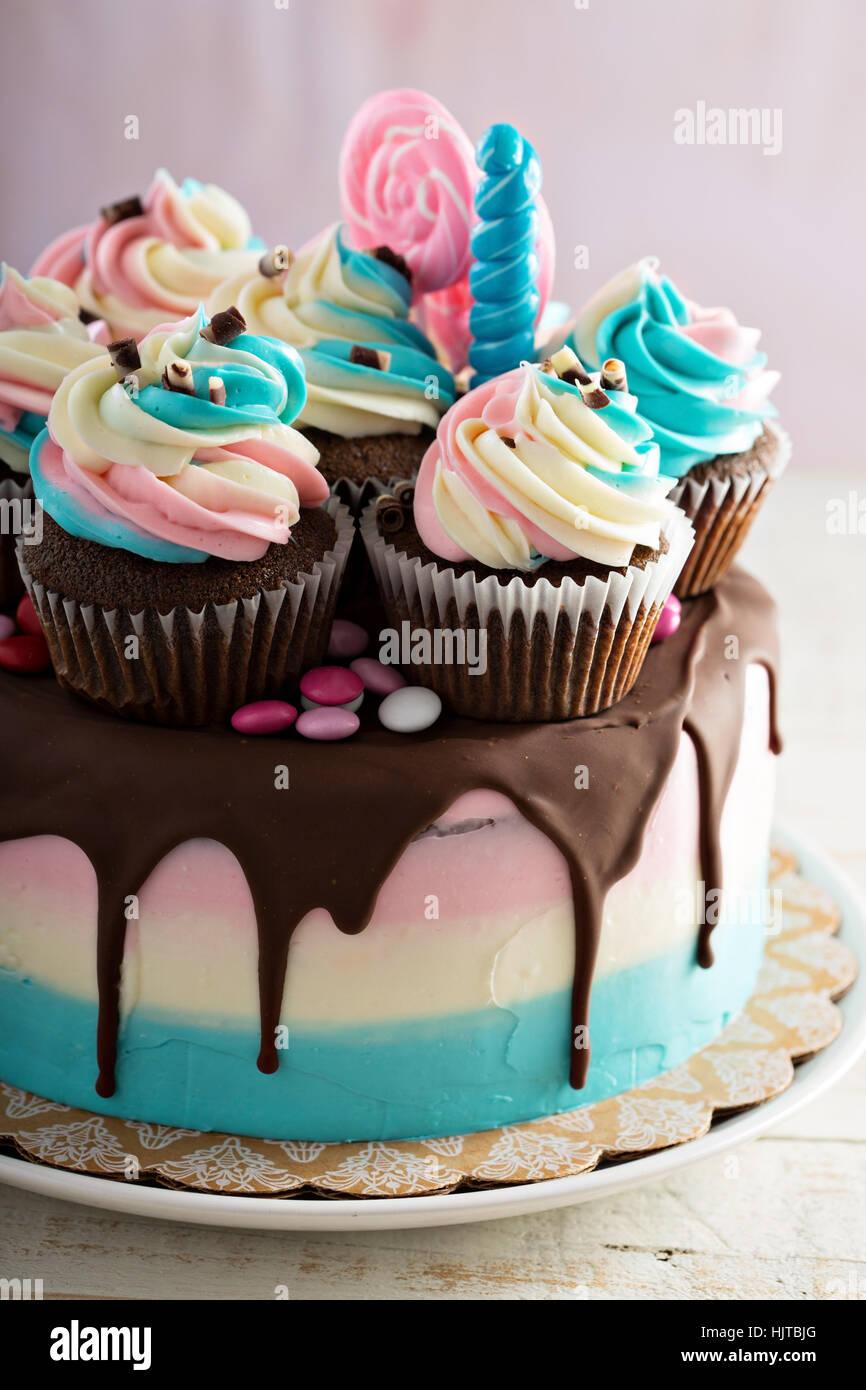 Rosa y azul pastel festivo Imagen De Stock