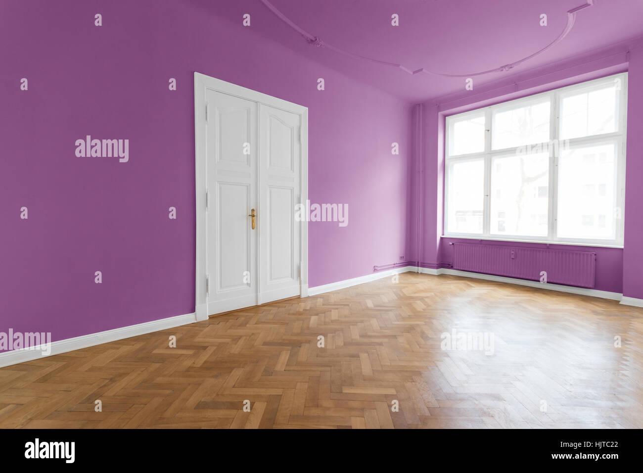 Las paredes de color violeta rosa habitaci n con parquet apartamento habitaci n vac a en - Color paredes habitacion ...