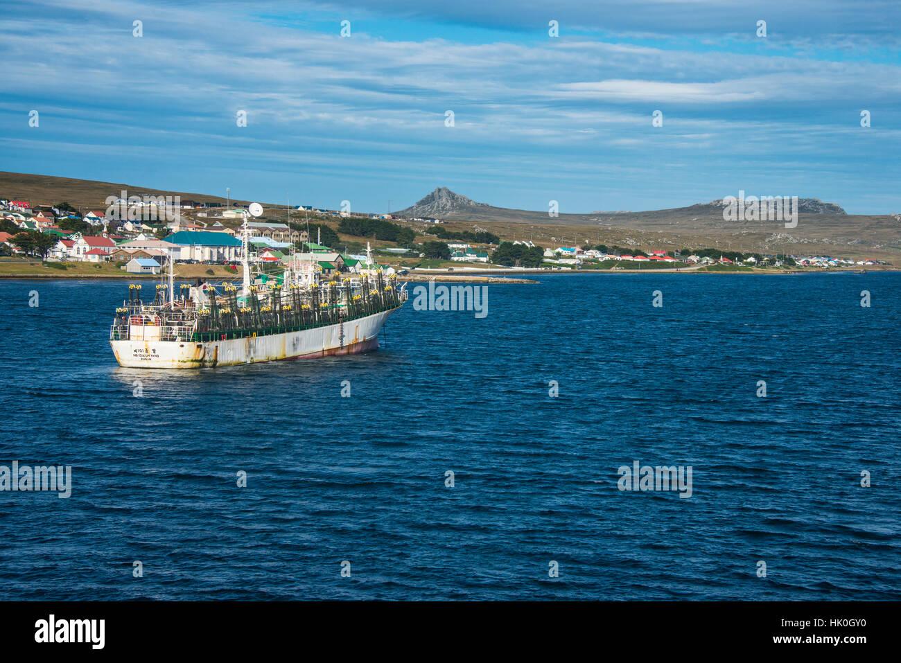 Calamares chinos arrastrero en Stanley, capital de las Islas Malvinas, América del Sur Foto de stock