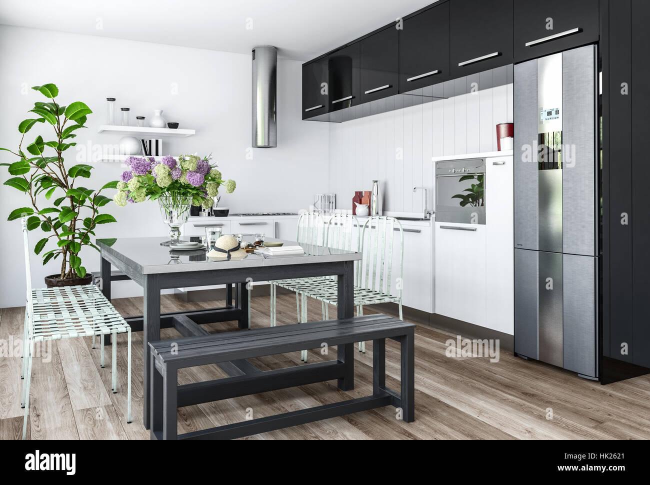 Cocina moderna con interior de diseño minimalista con muebles ...