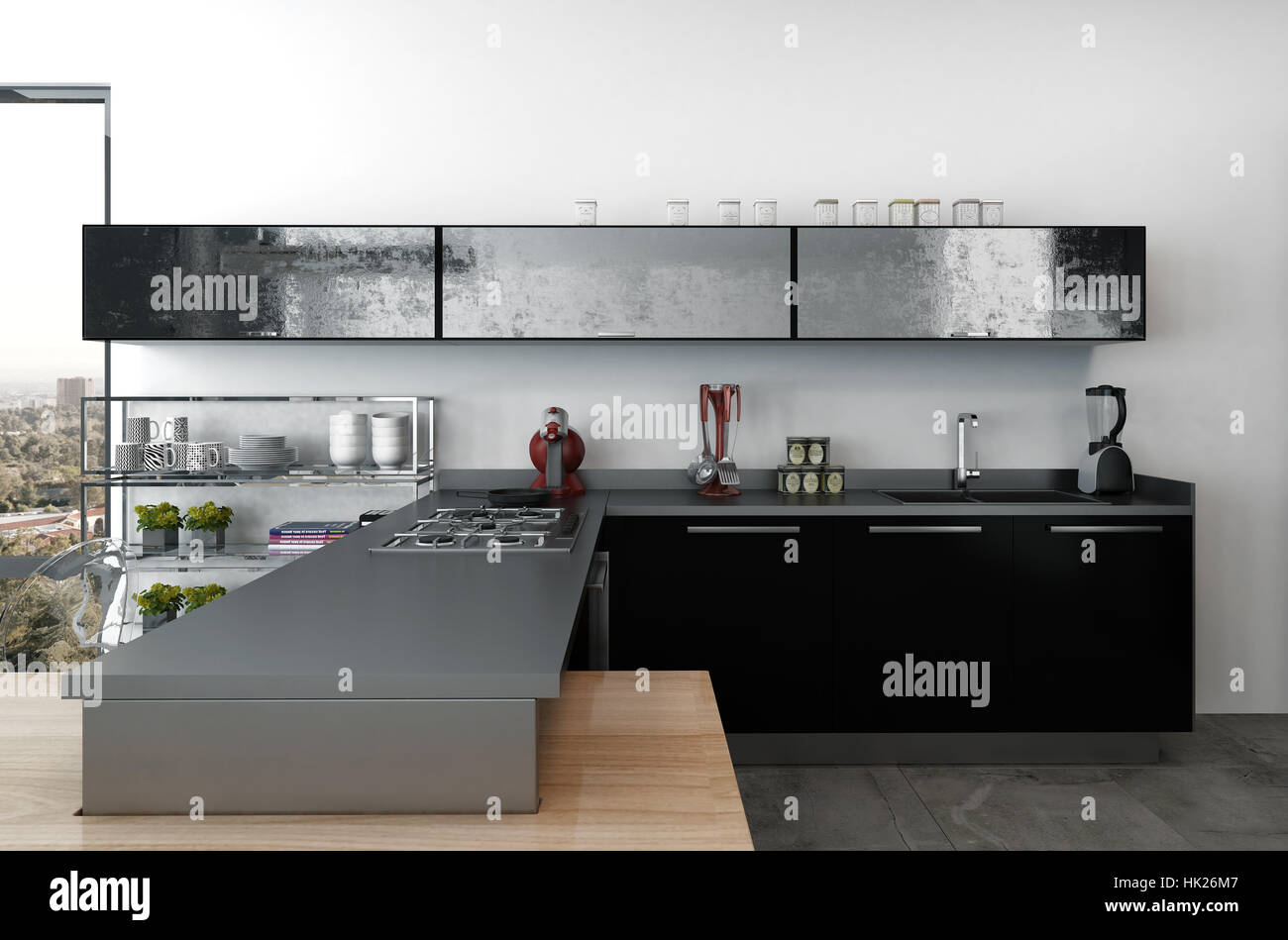 Bonito Moderna Cocina Con Gabinetes Negros Componente - Ideas de ...