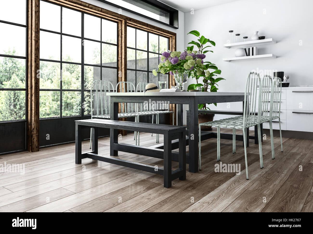 Un moderno comedor en el interior minimalista con sillas y bancos ...