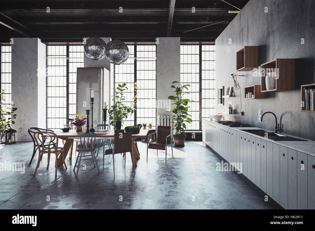 3D interior escena de una espaciosa cocina con mesa, sillas, plantas ...