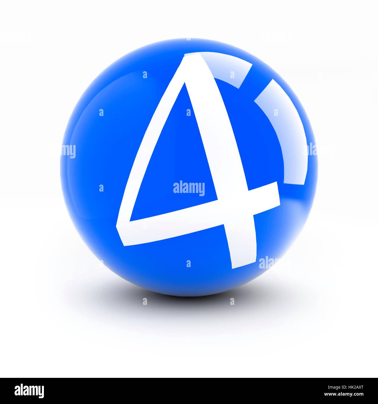 El número 4 en las bolas de color rojo y brillante con reflejos aislado en  blanco. 396b1d40e05db