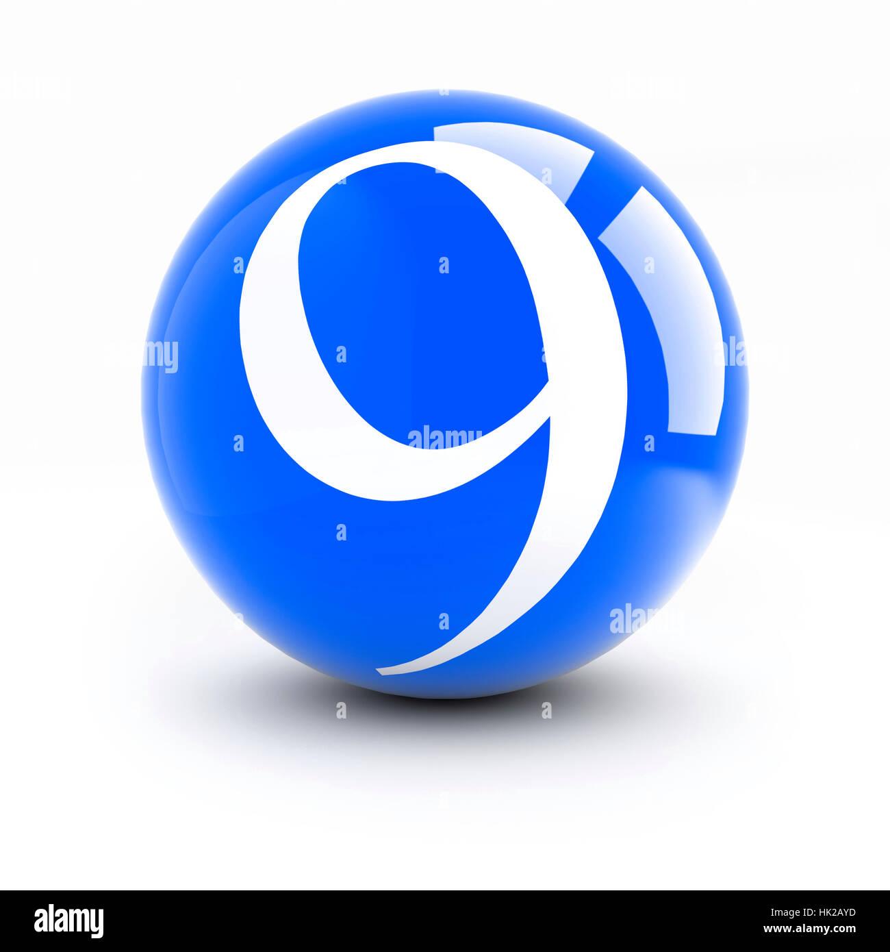 Número 9 en una bolas de color rojo brillante con reflejos aislado en blanco.  Imagen f43010fe2496e
