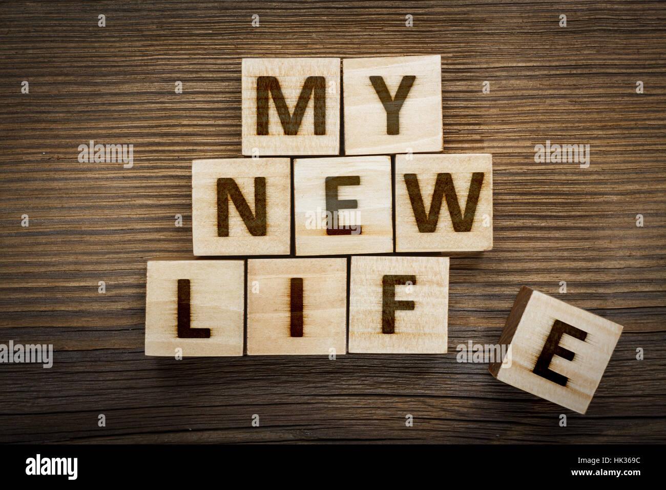 """""""Mi nueva vida"""" inscripción hecha de bloques de madera Imagen De Stock"""