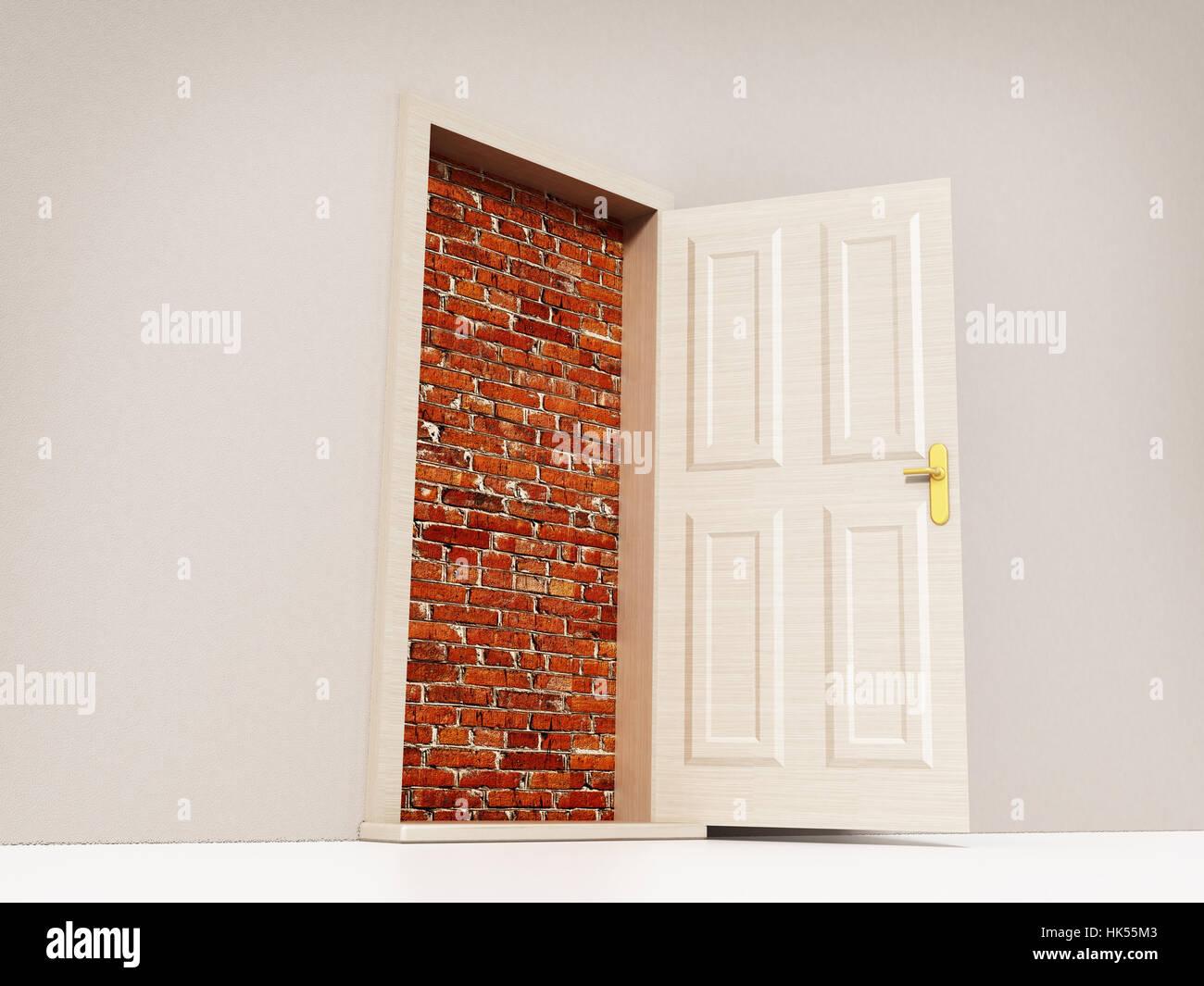 Abrir puerta que conduce a una pared de ladrillo. Ilustración 3D. Foto de stock