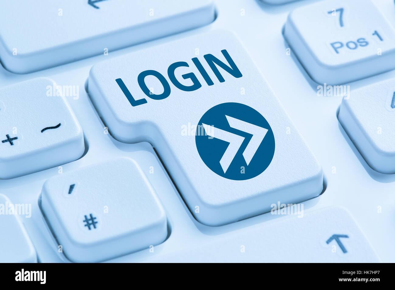 Botón de inicio de sesión enviar símbolo azul teclado de ordenador Imagen De Stock