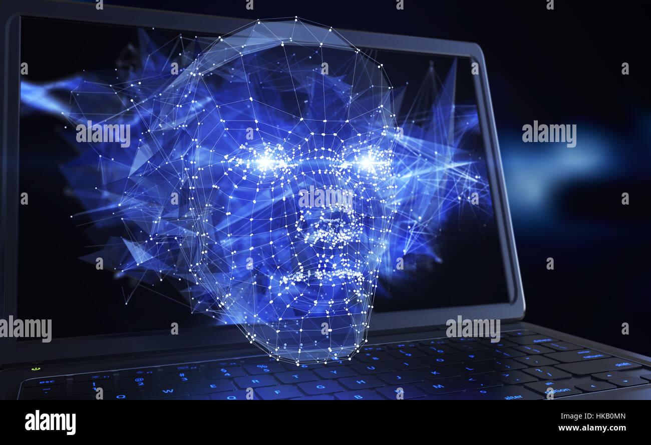 El concepto de red neuronal. Ilustración 3D Imagen De Stock
