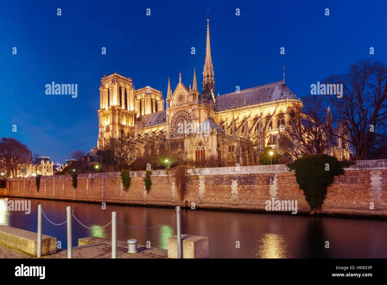 Catedral de Notre Dame de París por la noche, Francia Imagen De Stock