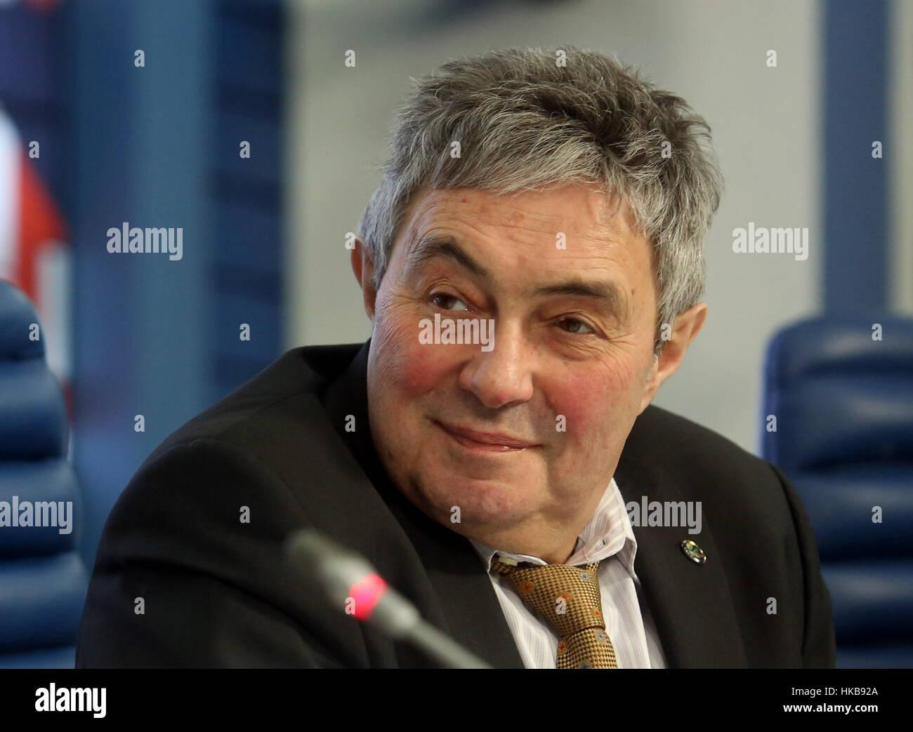 Moscú, Rusia. 27 ene, 2017. Lev Zelenyi (Zelyony), director de la Academia de Ciencias de Rusia (RAS) Instituto Foto de stock