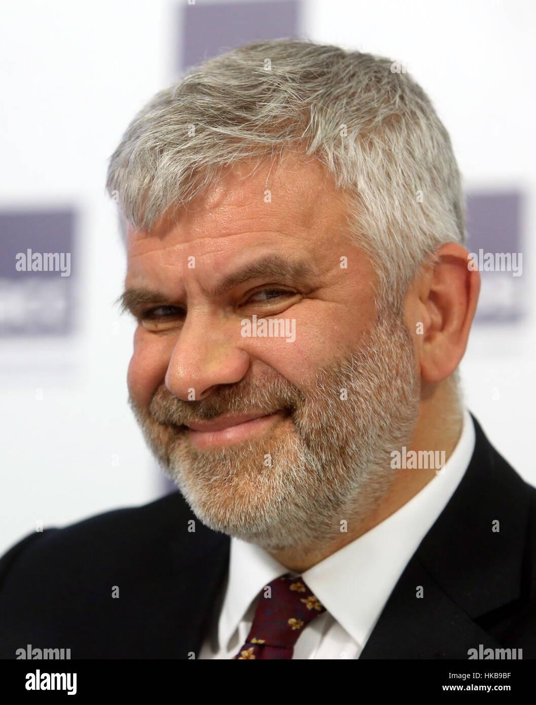 Moscú, Rusia. 27 ene, 2017. Michael Bird, director del British Council en Rusia, en una conferencia de prensa en Foto de stock