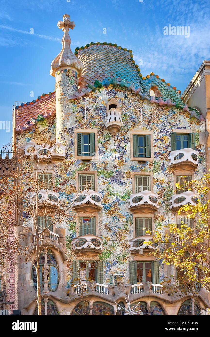 Diseño de la casa, Casa Batlló de Antonio Gaudí, Barcelona, España Imagen De Stock