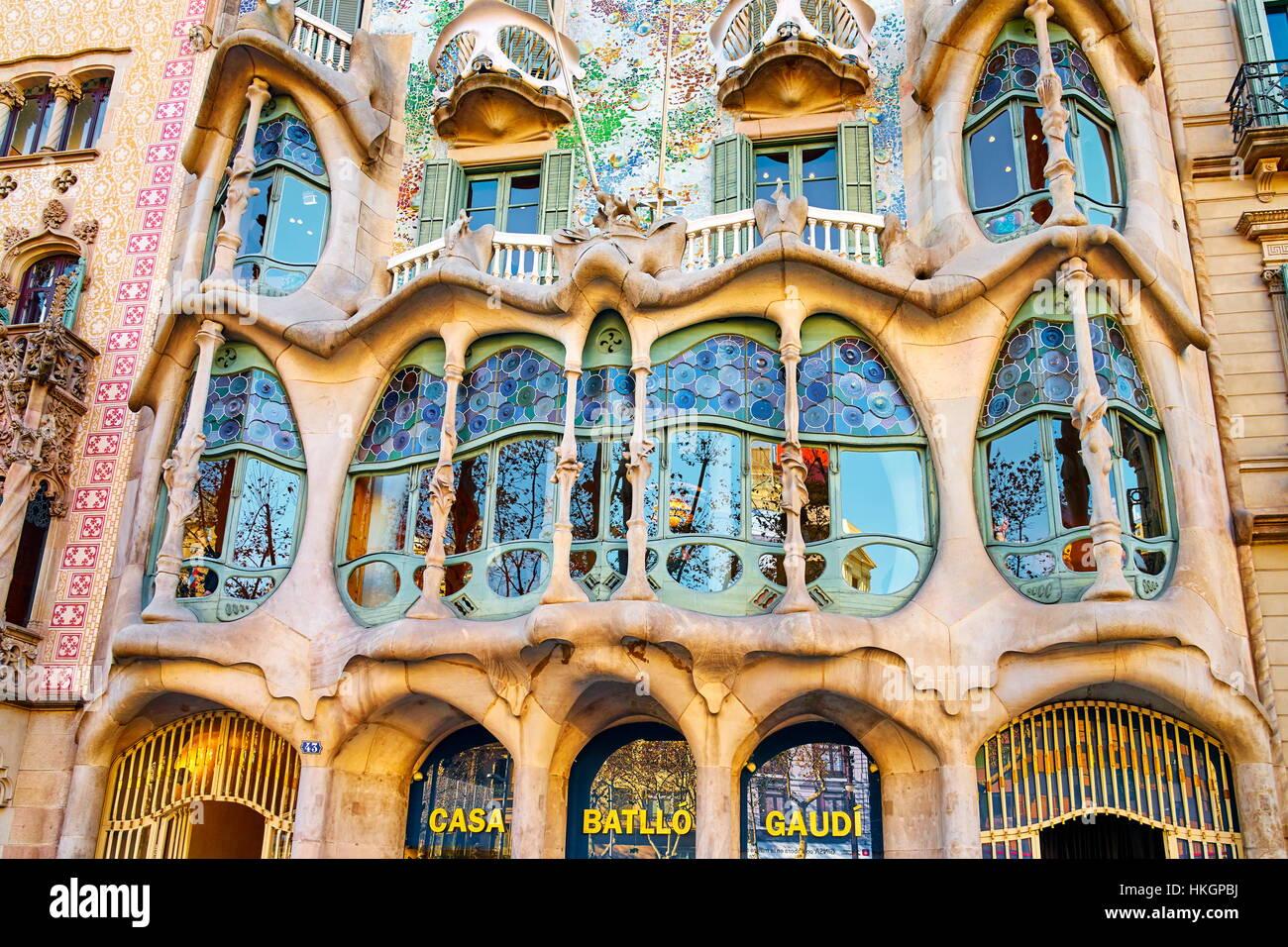 Diseño de la casa, Casa Batlló de Antonio Gaudí, Barcelona, Cataluña, España Imagen De Stock