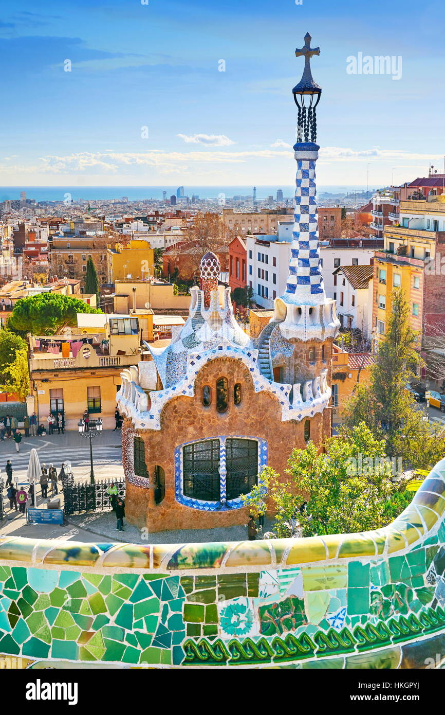 Parque Güell de Antoni Gaudí, Barcelona, Cataluña, España Foto de stock