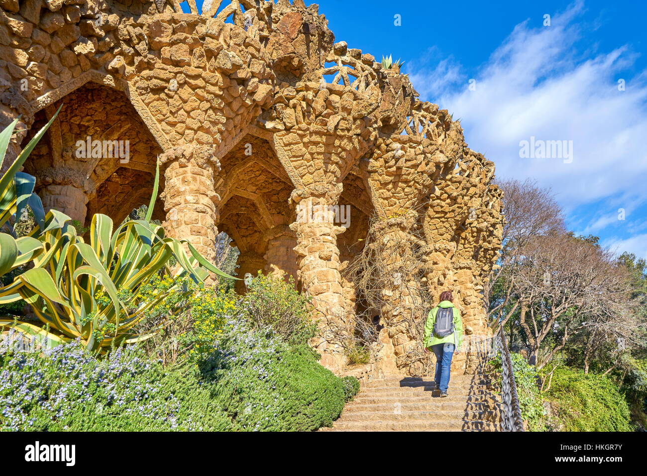 Parque Güell de Antoni Gaudí, Barcelona, Cataluña, España Imagen De Stock