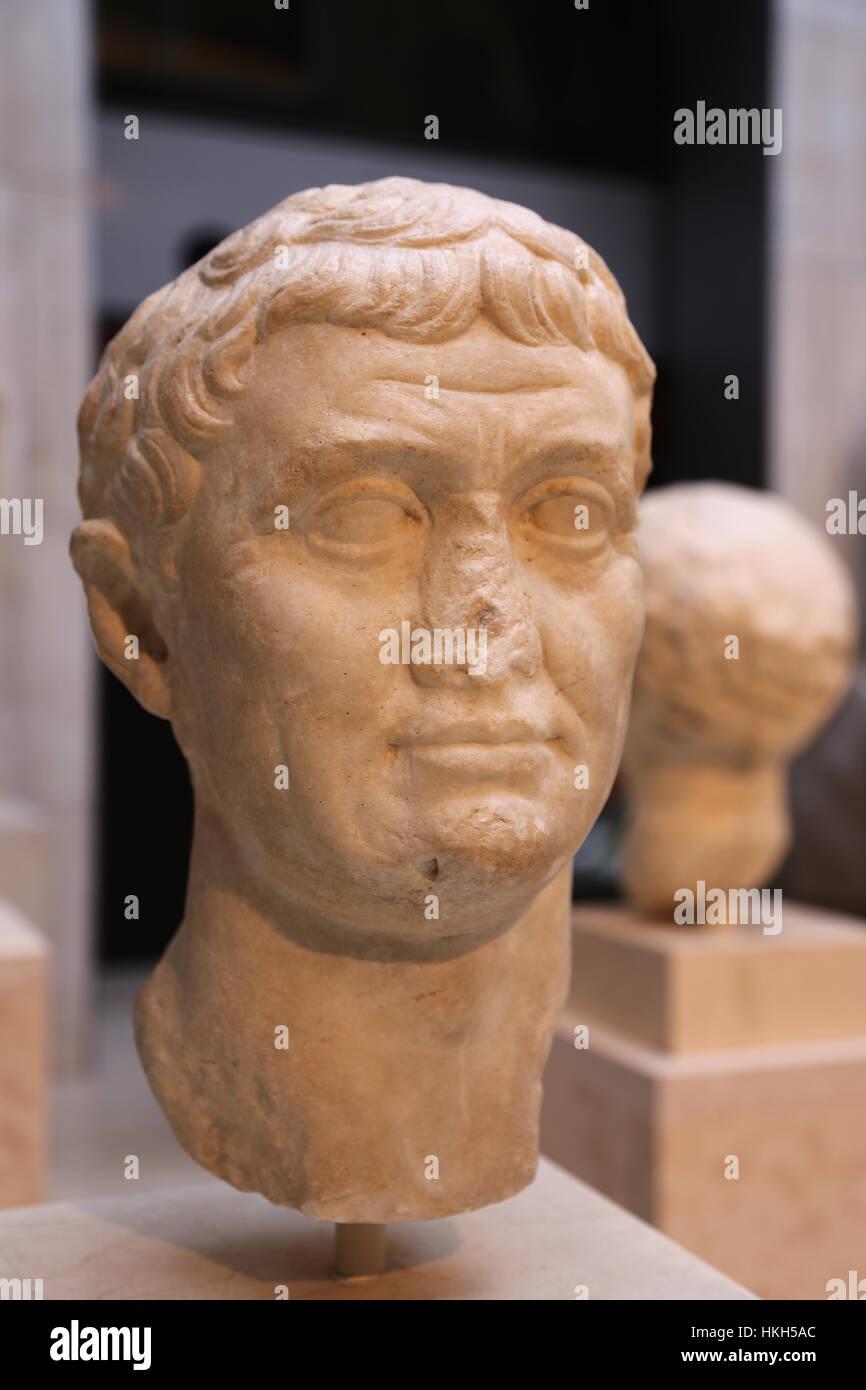 Marcus Antonius (83-30 a. de J.C.). General y político romano. República romana. Busto. Mármol. 42 Imagen De Stock
