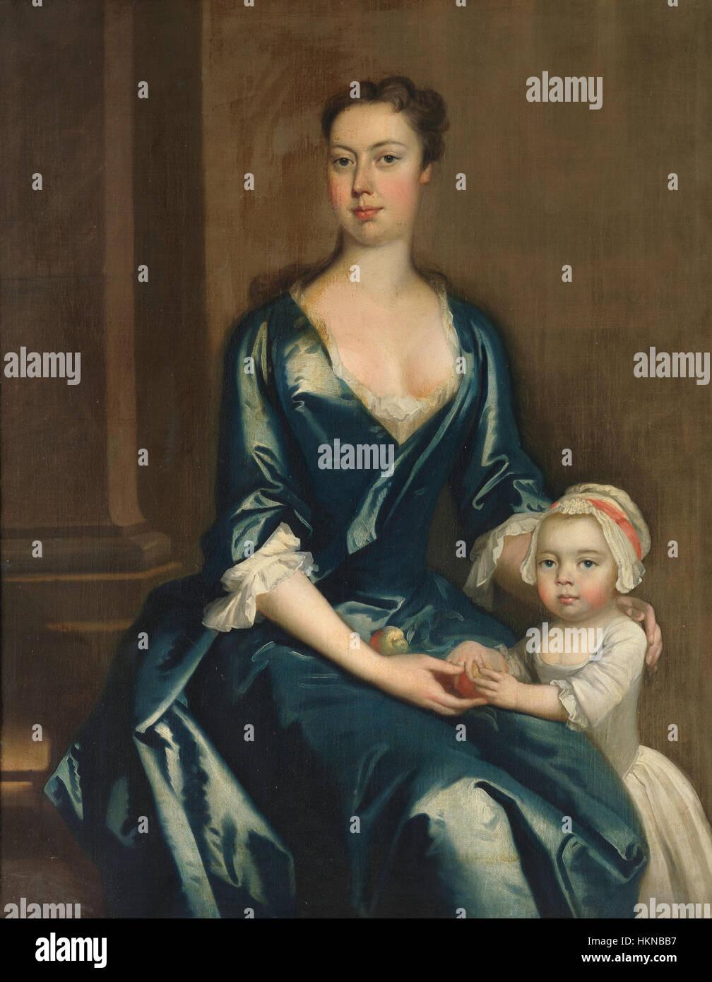 Retrato de dama con su hija (Thomas Hudson) Imagen De Stock
