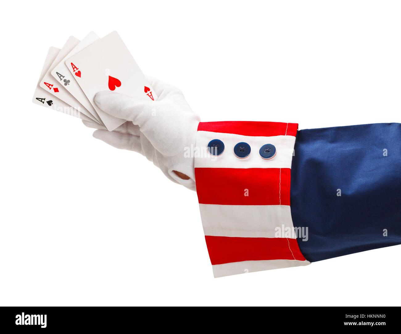 Presidente con cuatro ases en la mano aislado sobre fondo blanco. Imagen De Stock