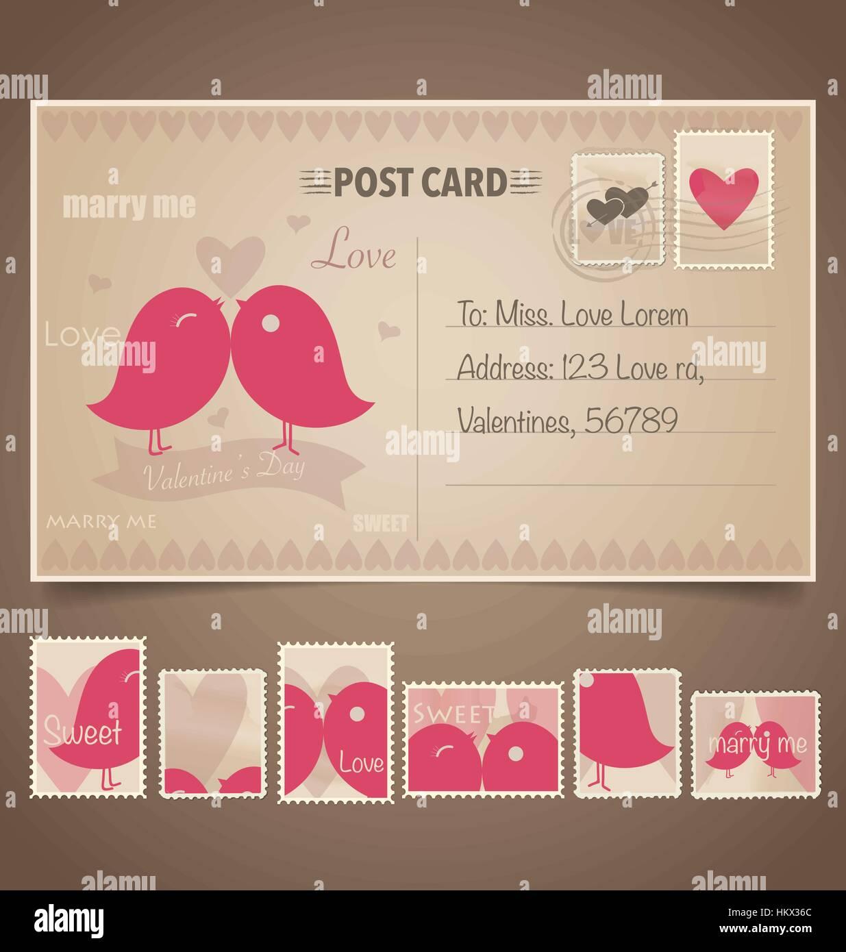 Vintage Postales Y Sellos De Fondo Para El Diseño De La