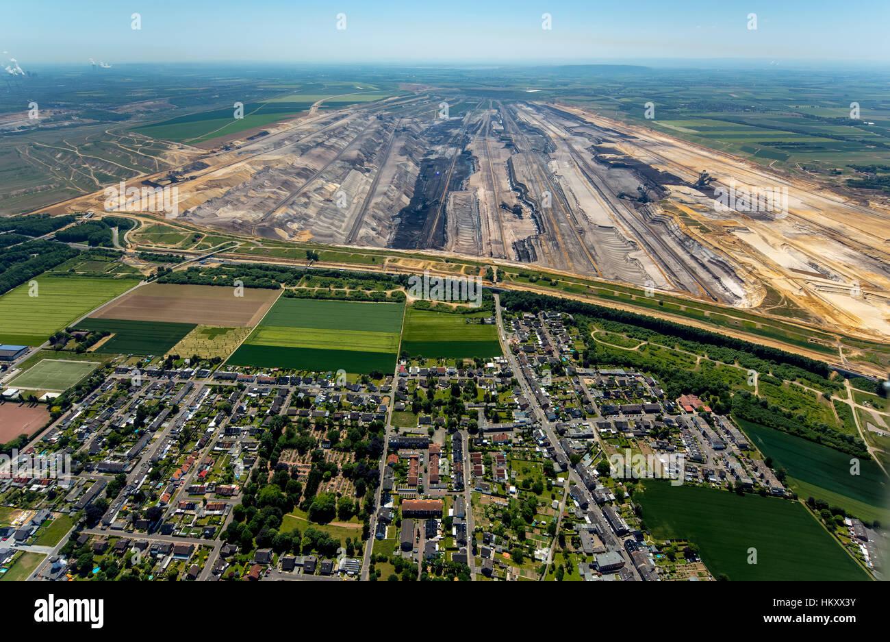 La minería de superficie del carbón marrón Garzweiler, generación de energía, la zona minera del carbón marrón, Foto de stock