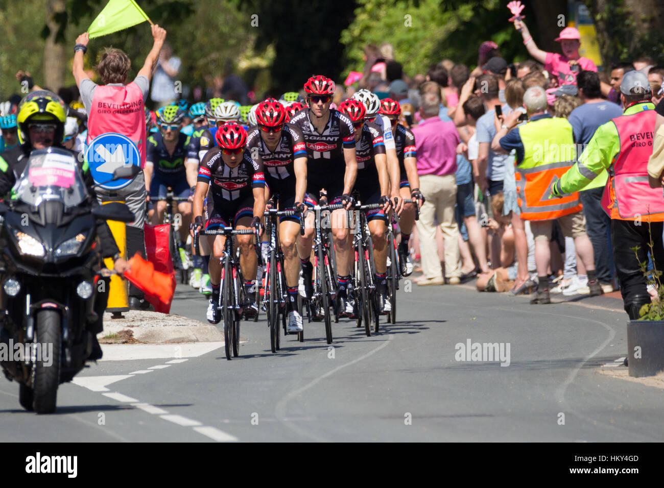 Los ciclistas del equipo Giant-Alpecin durante la segunda etapa del Giro d'Italia 2016 en Beuningen, Países Imagen De Stock