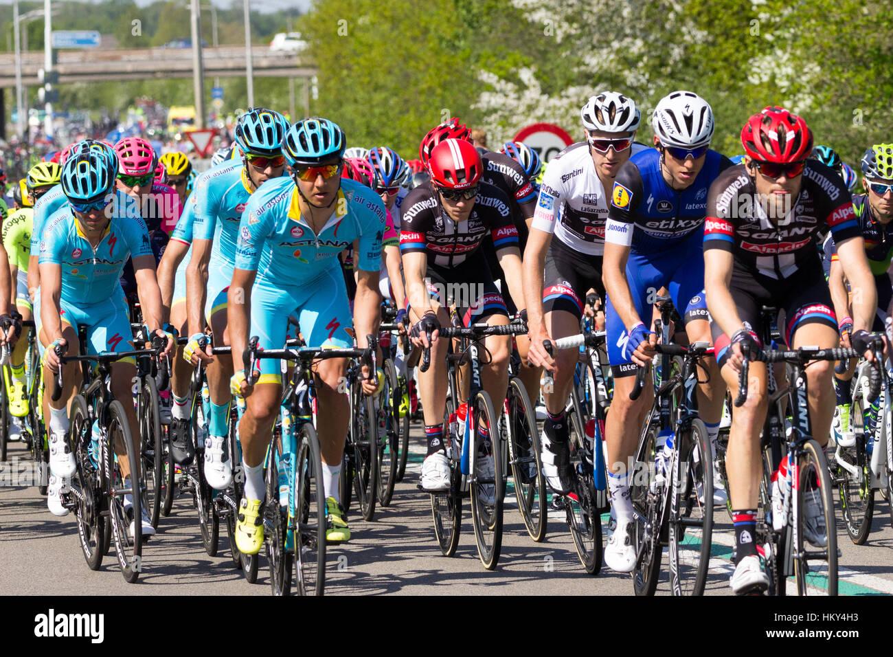 Los ciclistas durante la segunda etapa del Giro d'Italia 2016 en Wijchen, Países Bajos Imagen De Stock
