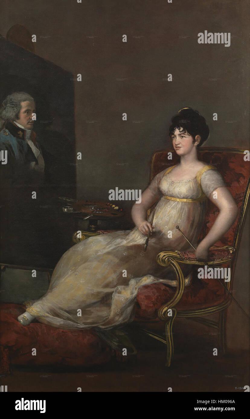 La marquesa de Villafranca pintando a su marido Imagen De Stock