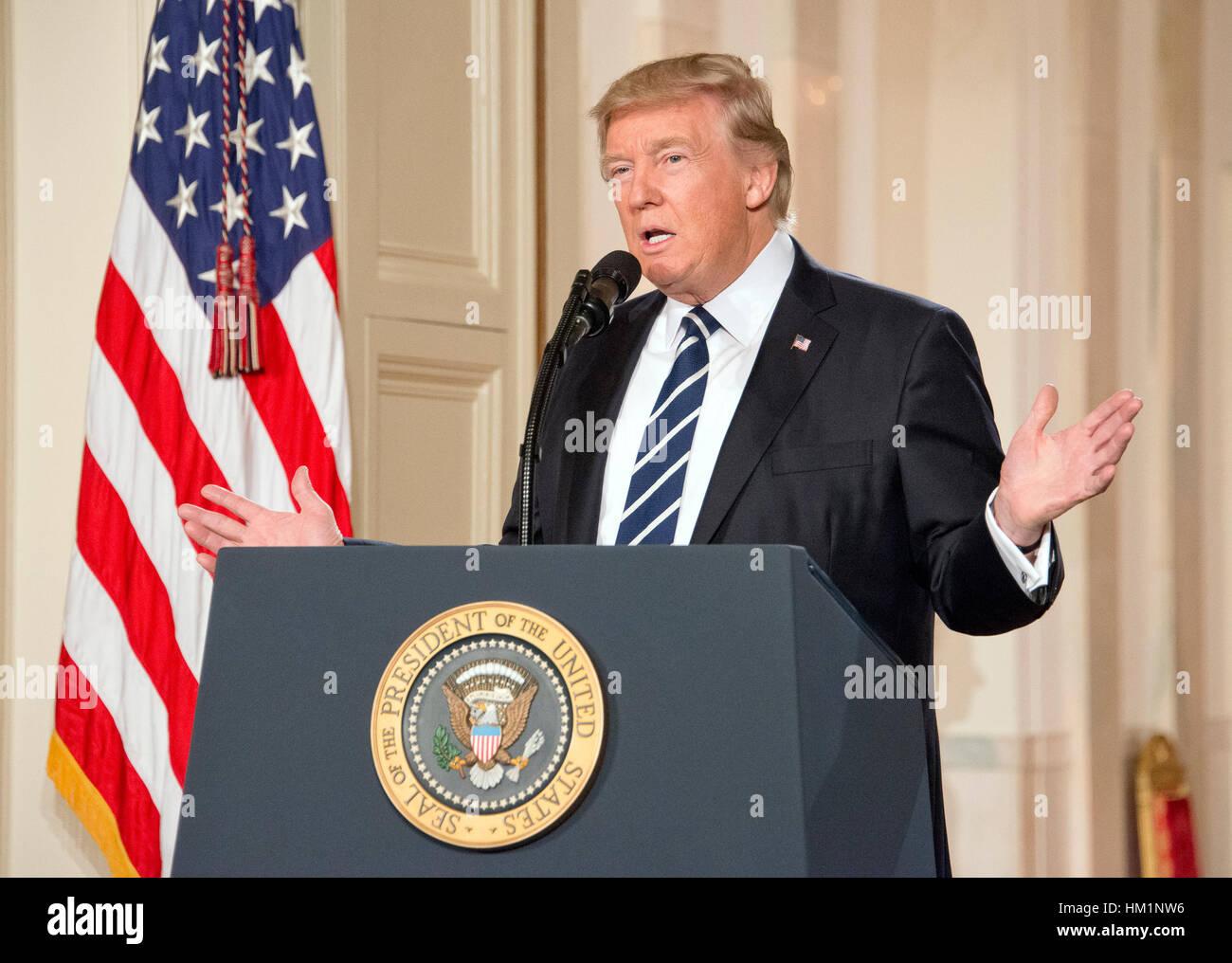 Washington, Estados Unidos. 31 ene, 2017. El Presidente de Estados Unidos, Donald J. Trump anuncia N. Gorsuch como Foto de stock