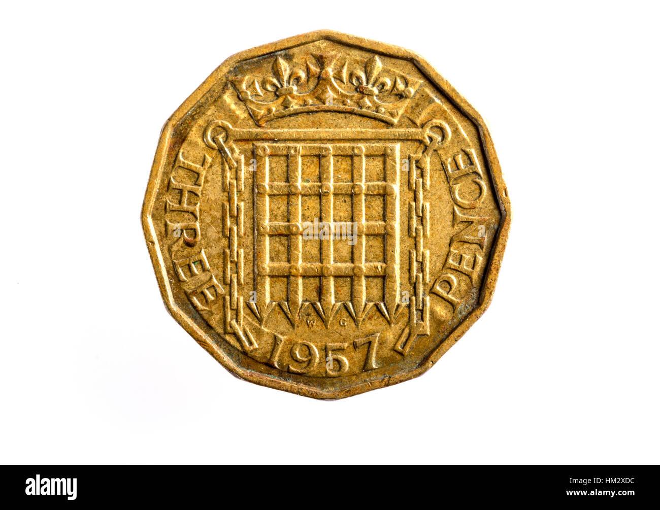 1957 3 peniques de moneda británica imperial Imagen De Stock