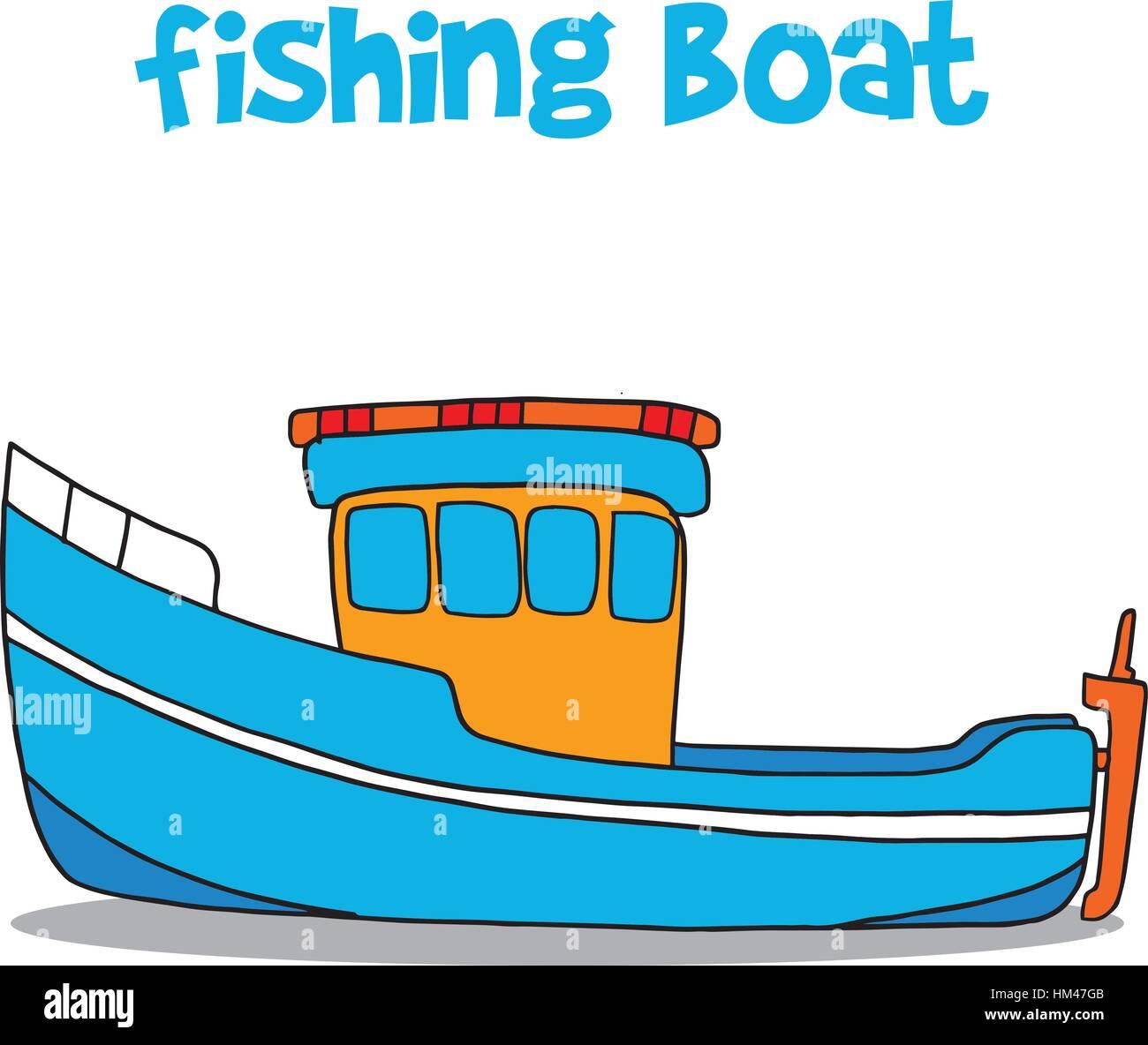 Barco Pesquero De Arte Vectorial De Dibujos Animados Ilustración Del
